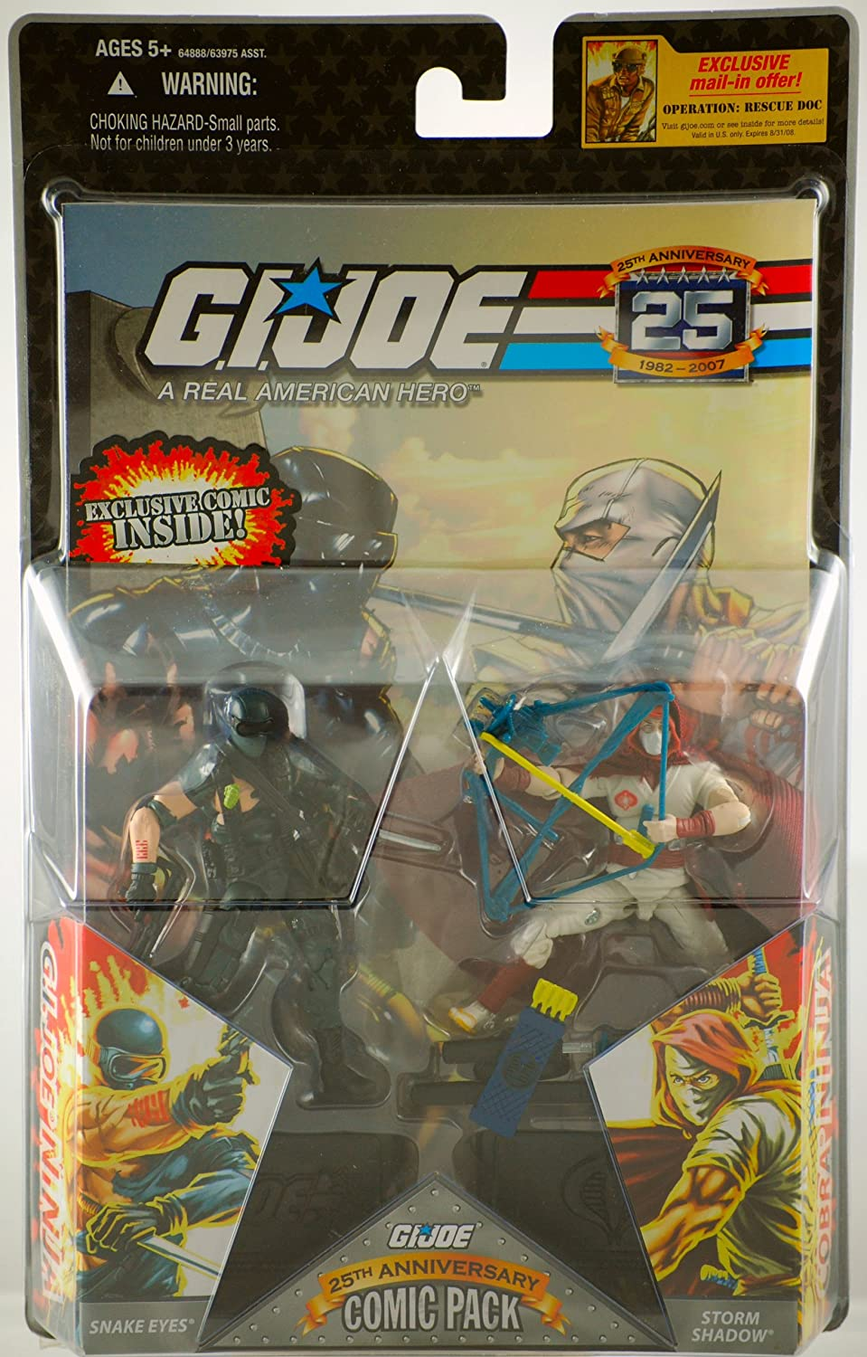 G.I. Joe  2007  Hasbro  25th Anniversary  Comic Pack  Snake Eyes & Storm Shadow Action Figures   Silence Between Borders   1  Exclusive Comic  New  Limited Edition  Collectible