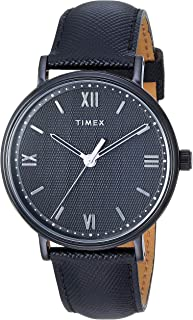 Timex Men's TW2T34900 Southview 41mm Blackout Leather Strap Watch