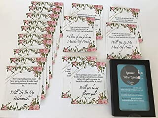 Set of 16 Will You be My Bridesmaid, Matron of Honor, Maid of Honor & Flower Girl with Poems. Ask Bridesmaids Using Beautiful Poems on Labels with Flower Design | Gift Ideas for Bridesmaids.