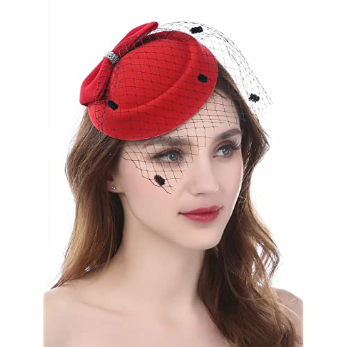 Fascinator Pillbox Hats with Flower Veil Feather Hairclip Wedding Hats for  Women eb35156b47b