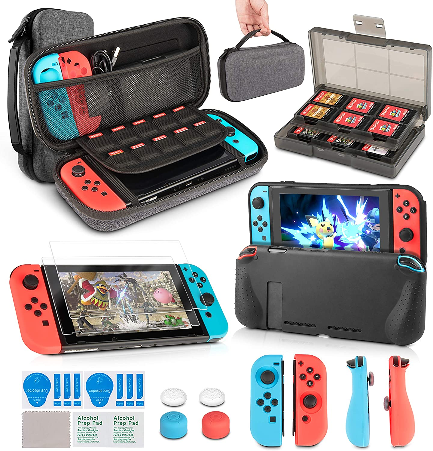 Switch Accessories Kit, innoAura 11 in 1 Accessories Kit with Carrying Case, Game Card Slot Holder, TPU Cover, Joycon Covers, Thumb Caps, Tempered Glass Screen Protectors for NS Switch