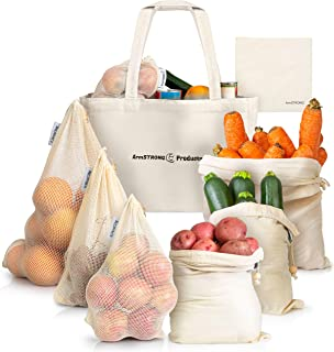 ArmStrong Reusable Produce Bags - Plastic-Free Grocery Bag Bulk Set - Eco-Friendly - Vegetable and Fruit Shopping Storage - Large Mesh Net and Organic Muslin - Food Carrying Sack