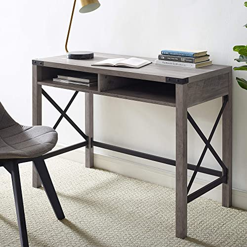 Walker Edison Rustic Modern Farmhouse Metal and Wood Laptop Computer Writing Desk Home Office Workstation Small, 42 I...