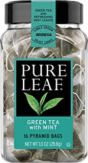 Pure Leaf Hot Tea Bags, Green Tea with Mint, 16 count (6 Pack)