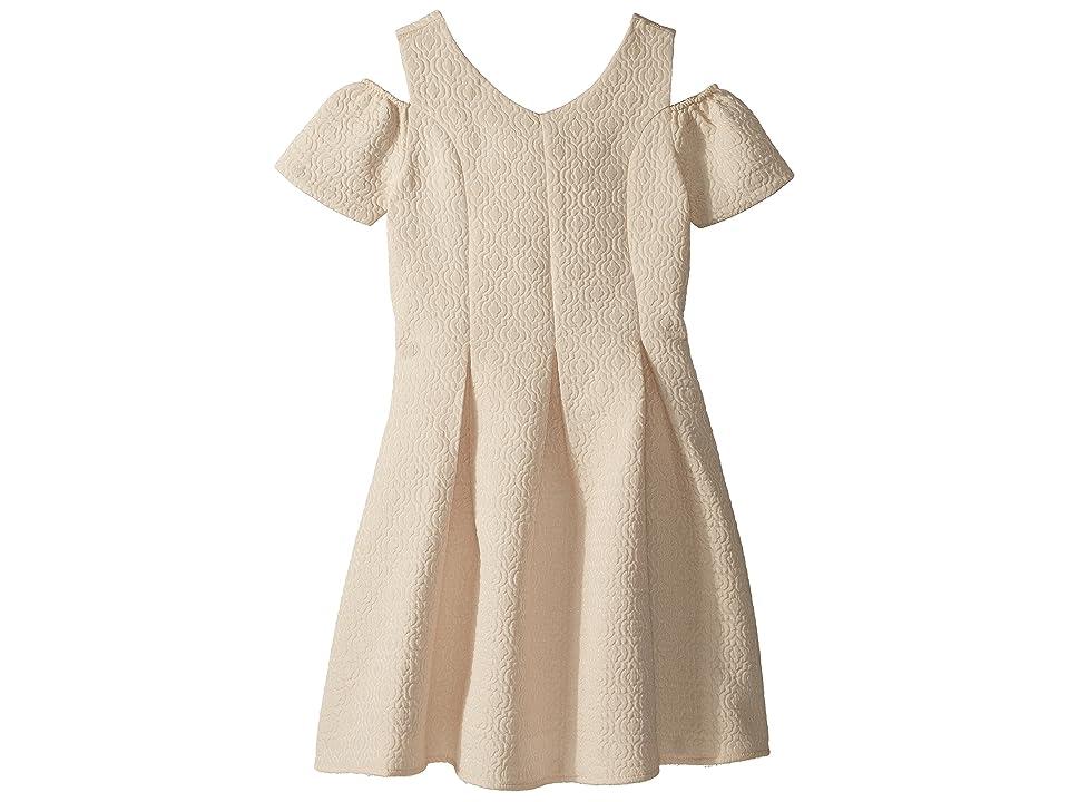 Us Angels Cold Shoulder Fit Flare Brocade Dress (Big Kids) (Champagne) Girl