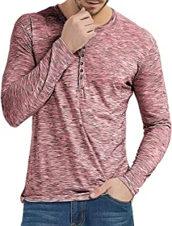 Moomphya Men's Casual Slim Fit Long Sleeve Henley Shirts Button T-Shirts