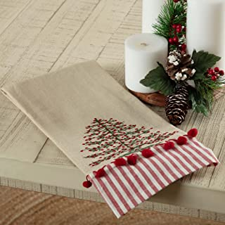 Piper Classics Embroidered Christmas Tree Tea Towel w/Red Farmhouse Ticking and Mini Pompom Accents