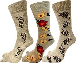 RC. ROYAL CLASS Women's Woolen Calf Length Floral Design Thumb Socks (Skin) - Pack of 3 Pairs