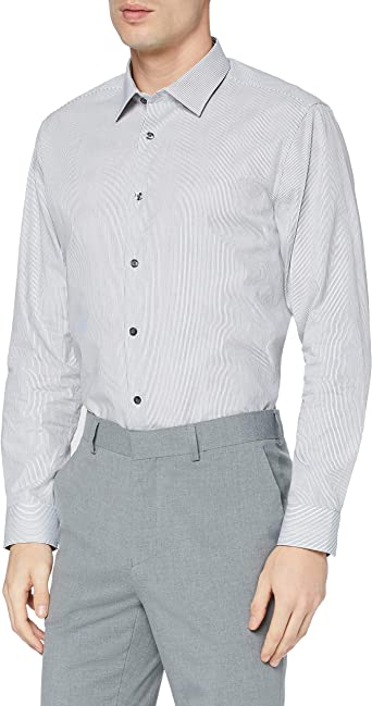 Marca Amazon - find. Regular Fit Stripe Shirt With Classic Collar, Camisa Formal Hombre