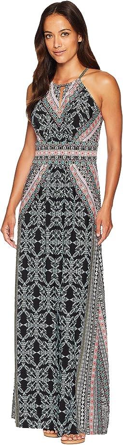 Ornate Tile Keyhole Halter Maxi Dress