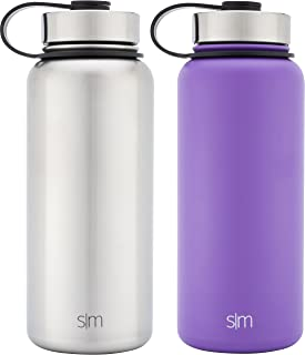 Simple Modern 32oz Summit Water Bottle 2 Pack - Two Vacuum Insulated 18/8 Stainless Steel Wide Mouth Hydro Travel Mugs - Powder Coated Double-Walled Flask - Lilac Purple/Stainless Steel