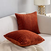 Kevin Textile Set of 2 Striped Textured Velvet Corduroy Decorative Europe Sham Throw Pillow Cushion Cover for Couch, (60x6...