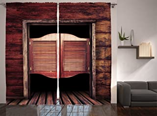 Ambesonne Western Decor Collection, Old Vintage Rustic Wooden Wild West Swinging Cowboy Bar Saloon Door Picture, Window Treatments, Living Room Curtain 2 Panels Set, 108 X 90 Inches, Maroon Brown