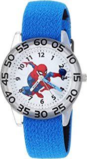 MARVEL Boys Spider-Man Analog-Quartz Watch with Nylon Strap, Blue, 16 (Model: WMA000173