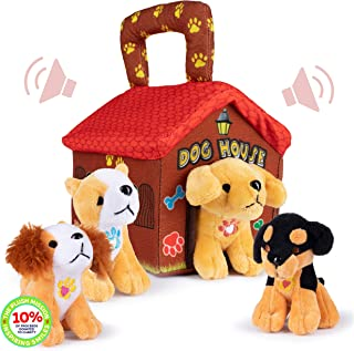 Plush Creations Plush Dog House Carrier with 4 Soft and Cuddly, Talking and Barking, Stuffed Plush Dogs. Excellent Interac...