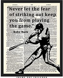 Never Let The Fear Of Striking Out… Babe Ruth Dictionary Wall Art Print: Unique Room Decor for Boys, Men, Girls & Women - (8x10) Unframed Picture - Great Gift Idea Under $15