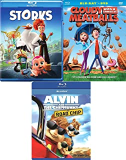 Babies Meatballs & Chipmunks 3 Pack Cartoon Favorites Cloudy with a Chance of Meatballs + Storks Animated Blu Ray + Road Chip Chipmunks awesome Family Triple movie Set