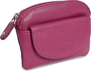SADDLER Womens Real Leather Small Zip Top Coin Purse | Ladies Change Pouch - Perfect for Coins & Small Keys |Gift Boxed - Magenta