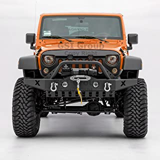 GSI Rock Crawler Front Bumper w/Skid Plate, with D-Ring and Winch Plate Ready&OE Fog Lights Hole-Textured for 07-18 Jeep Wrangler JK