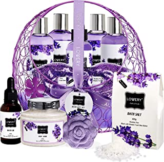 Home Spa Bath and Body Gift for Women and Men – Hot and Cold Gel Eye Mask, Lavender Lilac Deluxe Home Spa Set with Bath Bombs, Massage Oil, Purple Wired Candy Dish and Much More