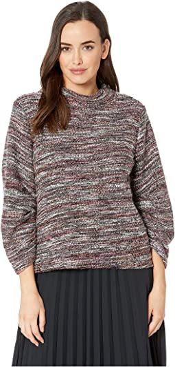 Gathered Sleeve Mock Neck Multicolor Boucle Top