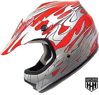 SmartDealsNow - HHH DOT Youth & Kids Helmet for Dirtbike ATV Motocross MX Offroad Motorcyle Street bike RED FLAME (Large)