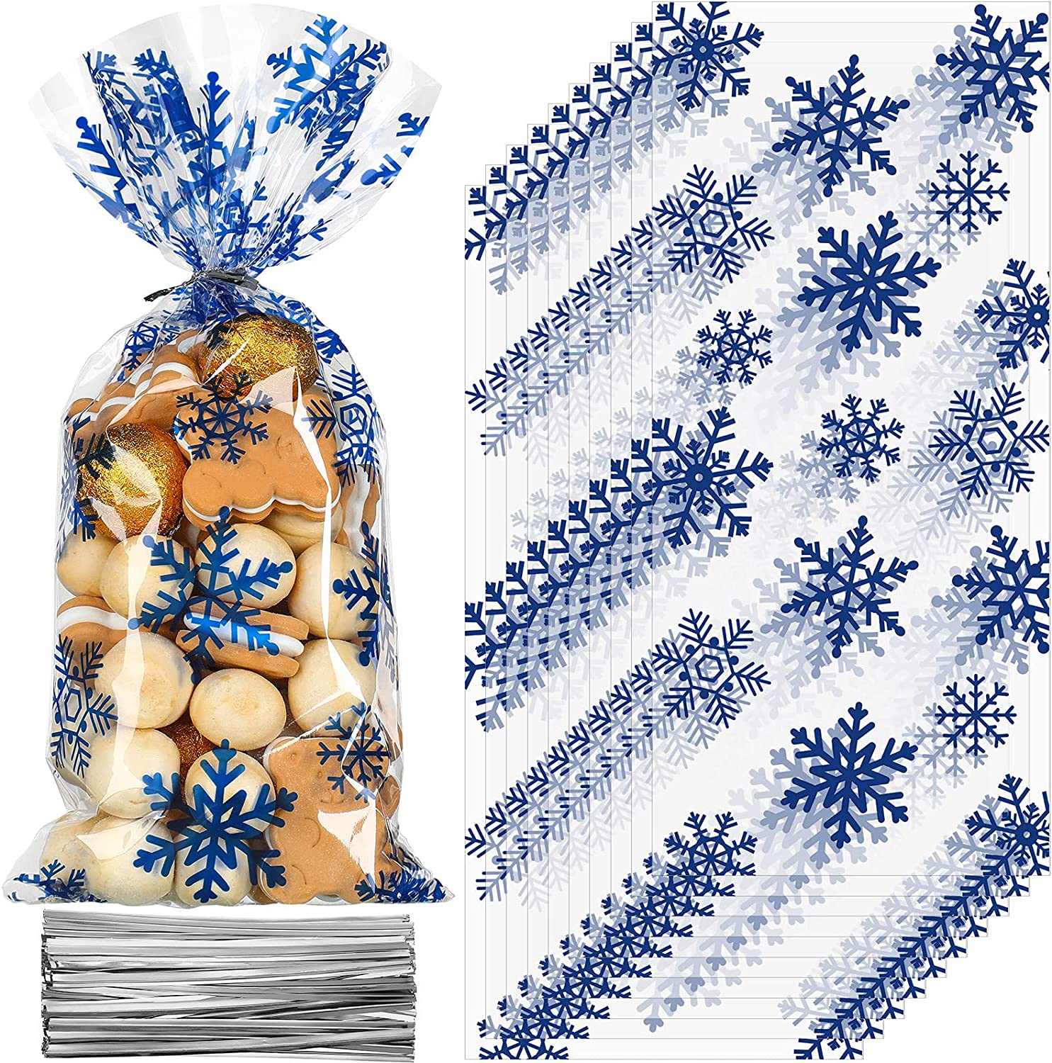 100 Pieces Christmas Cellophane Treat Bags, Plastic Christmas Cello Bags with Twist Ties for Candy, Cookie, Goodies, Gift Wrap, Xmas Party Favor Supplies (Snowflake Pattern)