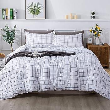 Andency White Grid Comforter Twin(66x90 Inch), 2 Pieces(1 Plaid Comforter and 1 Pillowcase) Black White Plaid Comforter Set, Microfiber Down Alternative Geometric Comforter Bedding Set