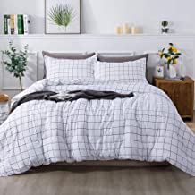 Andency White Grid Comforter Queen(90x90 Inch), 3 Pieces(1 Plaid Comforter and 2 Pillowcases) White Plaid Comforter Set, M...