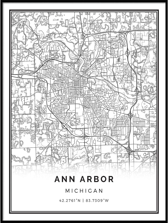 Squareious Ann Arbor map Poster Print Department store Modern White and Black Award-winning store W