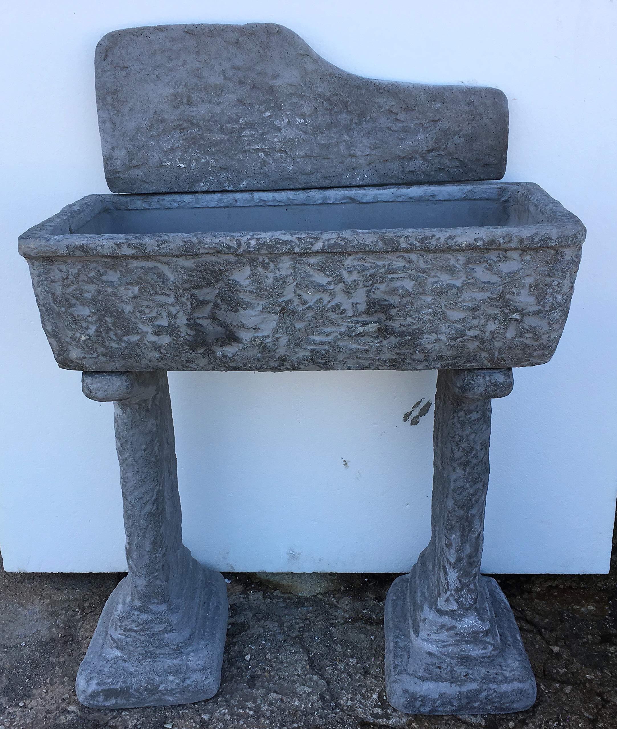 Artista granulado fregadero de cemento y piedra volcánica del Vesuvio, lavabo, fuente, medidas: 80 x 40 x 115 cm.: Amazon.es: Jardín