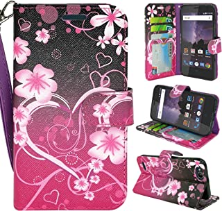 ZTE Blade Vantage Case, ZTE Tempo X Case, Customerfirst Luxury PU Leather Wallet Flip Protective Case Cover with Card Slots and Stand for ZTE Blade Vantage Z839/ZTE Tempo X N9137 (Big Heart Pink)
