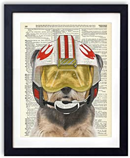 Star Pilot Terrior, Kids Bedroom Wall Decor, Vintage Wall Art Upcycled Dictionary Art Print Poster For Kids Room Decor 8x10 inches, Unframed