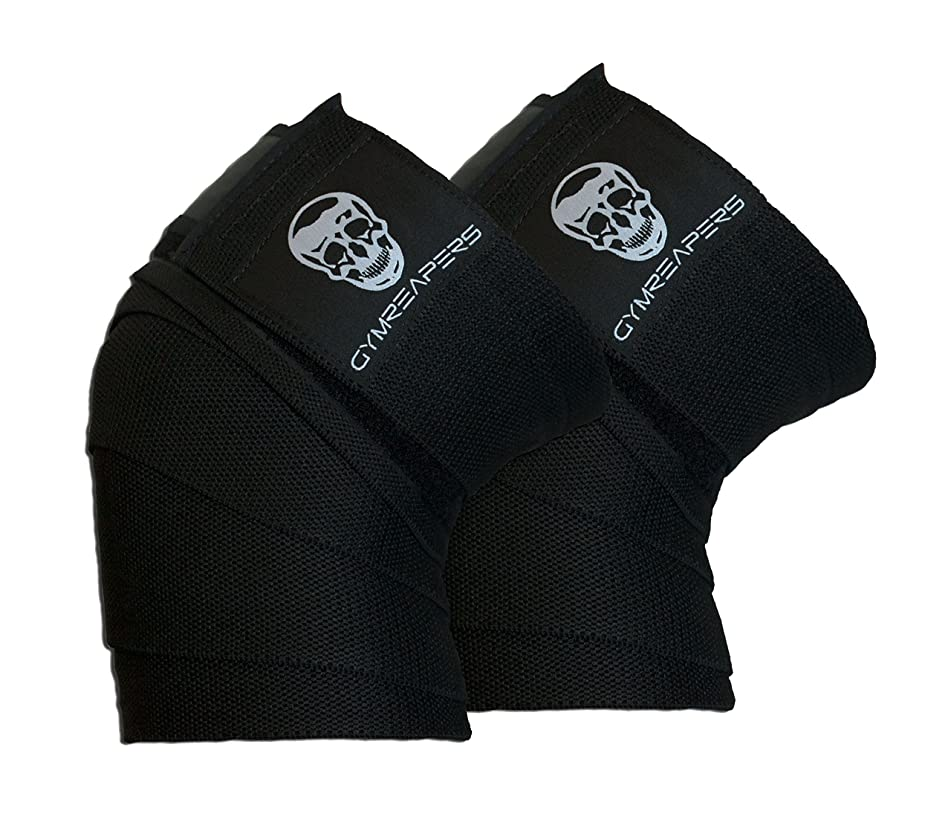 Gymreapers Knee Wraps (Pair) with Strap for Squats, Weightlifting, Powerlifting, Leg Press, and Cross Training - Flexible 72