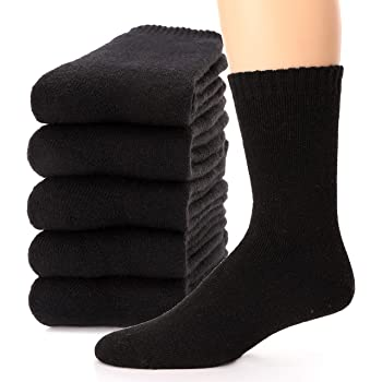 5 Pack Men Wool Cashmere Fleece Sock Cushioned Thermal Thicken Solid Boot Winter