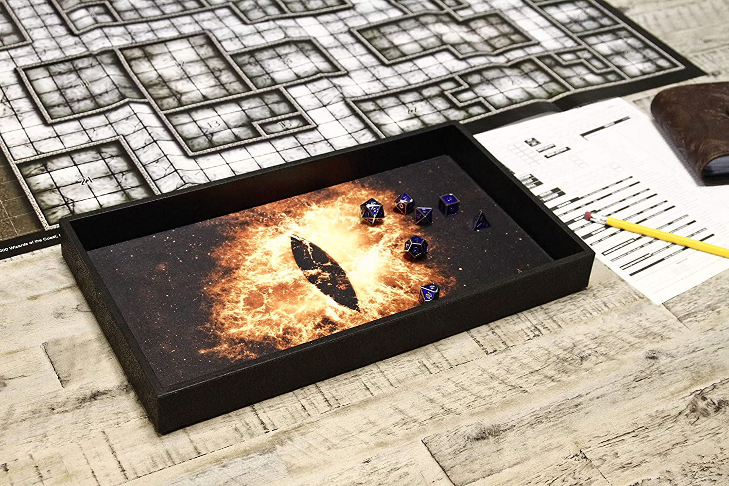 Tabletop RPGs Like D/&D Pathfinder Roleplaying Game Dice Tray 14 for Any Dice or Board Game Double Sided and Removable Neoprene Rolling Dice Mat Forged Dice Co