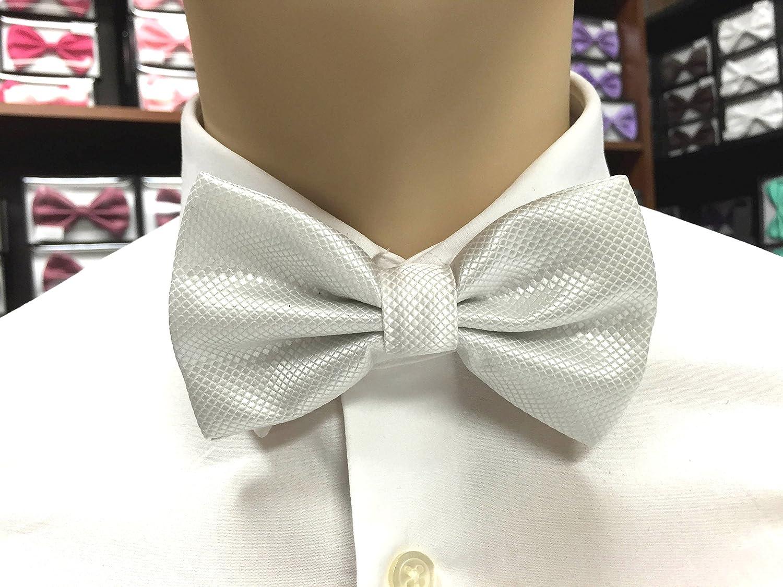 New Store Exclusive Fashion Style Mens Adjustable Diamond Tuxedo Bowtie Wedding Bow Tie Necktie (WHITE)