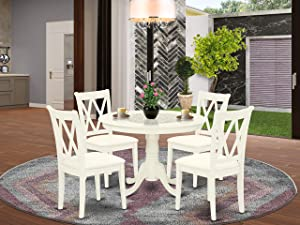 East West Furniture 5-Piece Room Set Included a Round Breakfast Table and 4 Dining Microfiber Kitchen Chair Seat & Double X-Back, Linen White Finish
