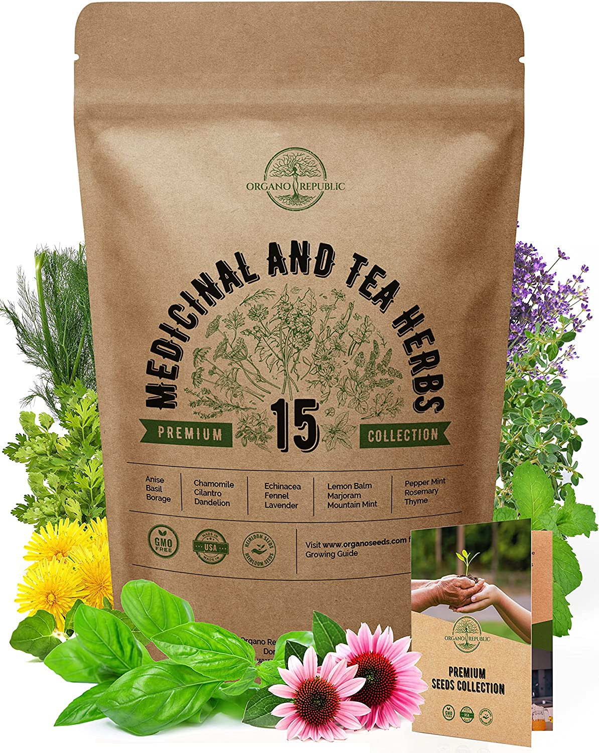15 Medicinal & Tea Herb Seeds Variety Pack for Planting Indoor & Outdoors. 3600+ Non-GMO Heirloom Herbal Garden Seeds: Anise, Borage, Cilantro, Chamomile, Dandelion, Rosemary, Peppermint Seeds & More