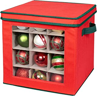 Holiday Ornament Storage Cube with 64 Individual Compartments - Made with Non-Woven Polypropylene Fabric - Transparent Front Panel for Easy Viewing - Removable Top and Convenient Handle