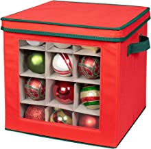 Holiday Ornaments Storage Cube with 64 Individual Compartments - Made with Non-Woven Polypropylene Fabric - Transparent Cover for Easy Viewing - Removable Top and Convenient Handle