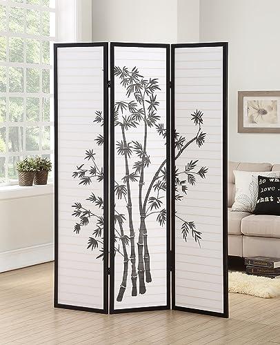 popular Roundhill online discount Furniture 3-Panel Oriental Shoji Room Divider Screen, Black outlet online sale