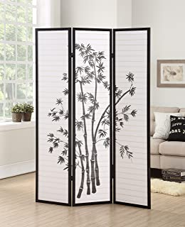 Roundhill Furniture 3-Panel Oriental Shoji Room Divider Screen, Black