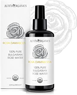 Alteya Organic Rose Water | USDA Certified Organic | Glass Spray Bottle | 6.8 Ounces