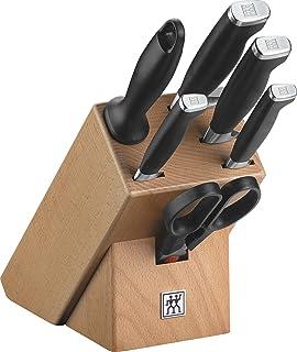 ZWILLING Bloc de Couteaux, 7 Pièces, Bloc en Bois, Couteaux en Acier Inoxydable Spécial/Manche Plastique, Twin Four Star II