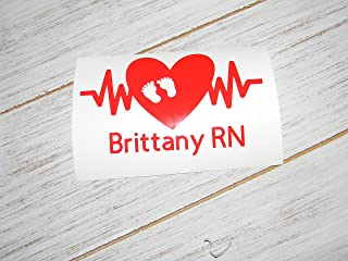 NICU Neonatal Baby Personalized Nurse Intensive Care Unit Vinyl Decal - Heartbeat Foot Prints Sticker-Pick Color