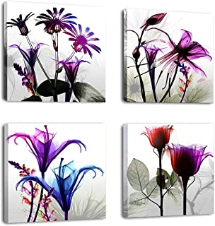 Natural art – 4 Panels Modern Giclee Prints Artwork Huge Multi Flowers Pictures Photo Paintings Print on Canvas Wall Art f...