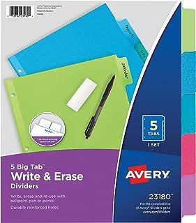 Avery Big Tab Write & Erase Dividers, 5 Multicolor Tabs, 1 Set (23180)