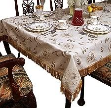 """Violet Linen Legacy Floral Damask Design Fringes Tablecloth, 90"""", White"""