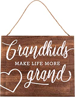 Grandkids Make Life More Grand 15.75 x 13 Wood Plank Design Hanging Sign